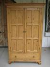 12e315 antique irish pine armoire with paneled doors drawer below a shelf pole inside pretty base circa 1850 antique english pine armoire